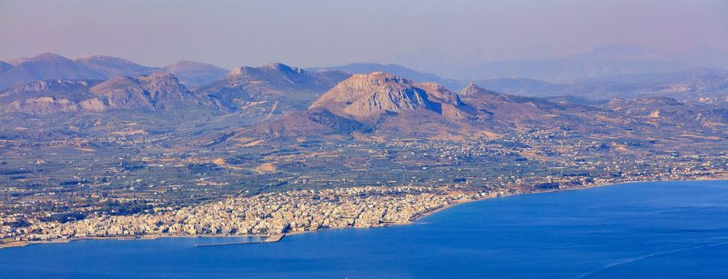 Panorama of Corinth city, Greece, aerial view.